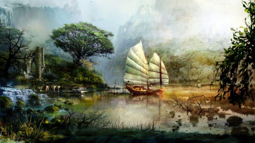 fantasy world landscape tree water bay ship wallpaper