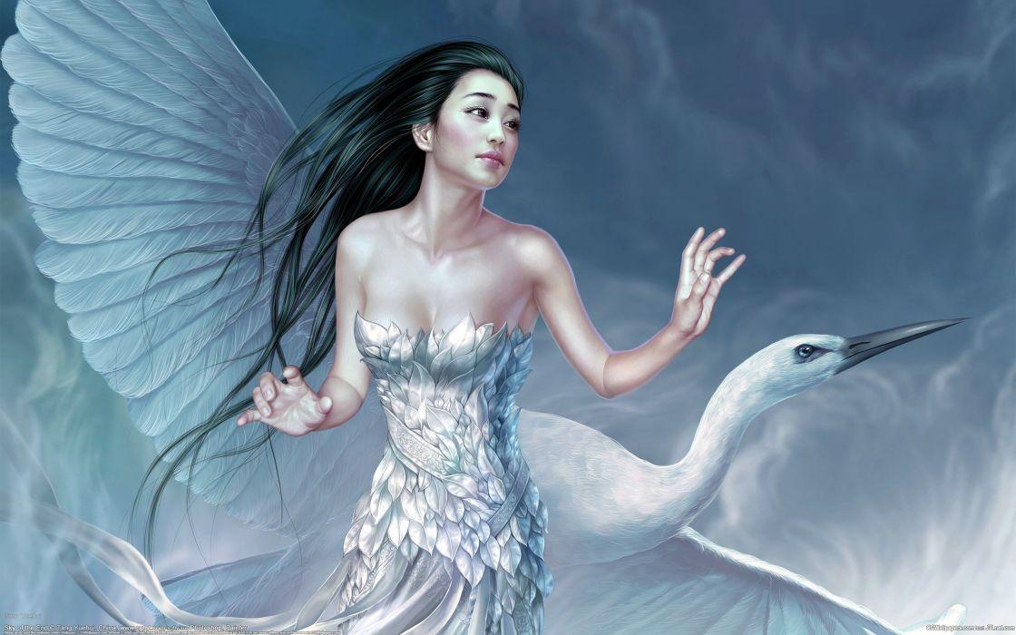 cg asian girl-bird fantasy wallpaper
