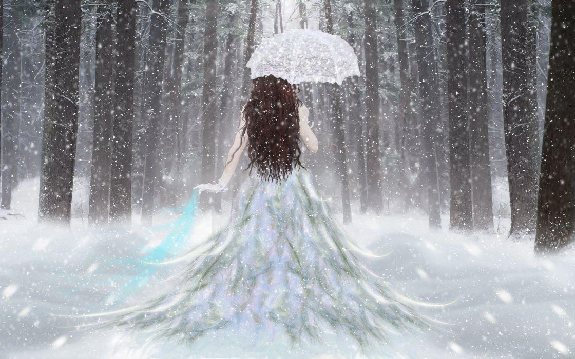 fantasy girl umbrella snow forest white dress wallpaper