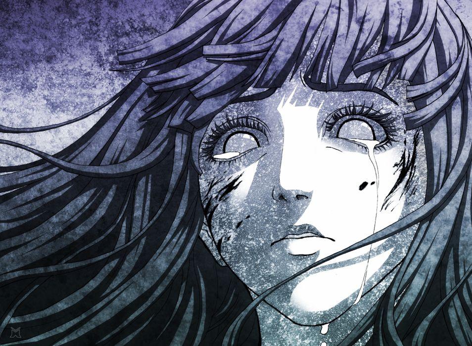 blood tears long hair naruto shippuden hyuuga hinata artwork crying anime girls faces polychromatic wallpaper