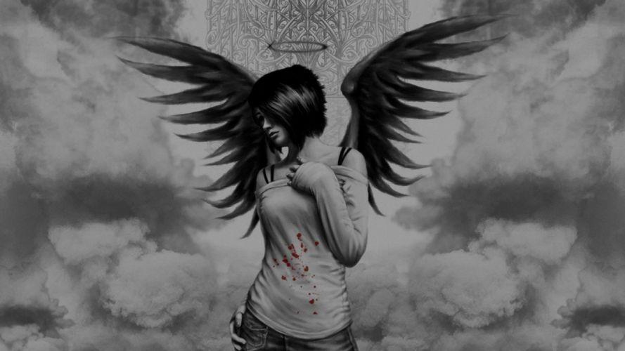 wings halo blood splatters artwork anime anime girls wallpaper