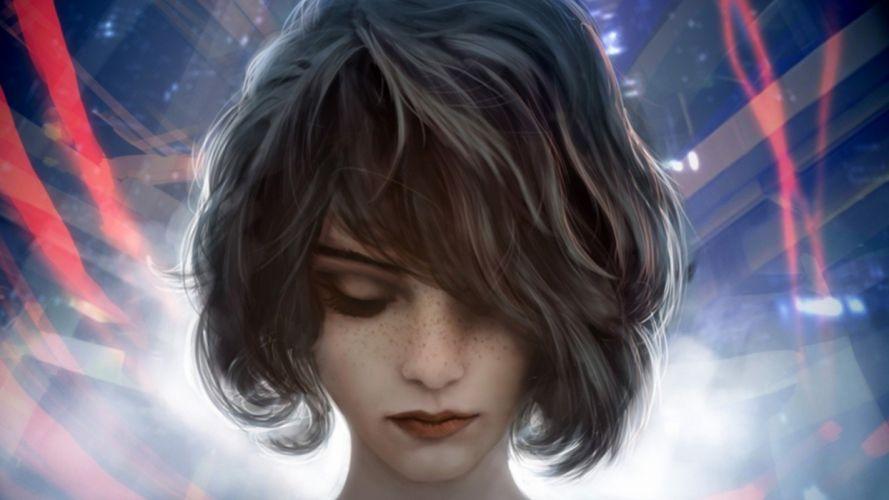 women artwork fantasy short hair wallpaper