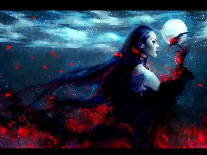 dark red night blood moon artwork burn black hair nanfe wallpaper