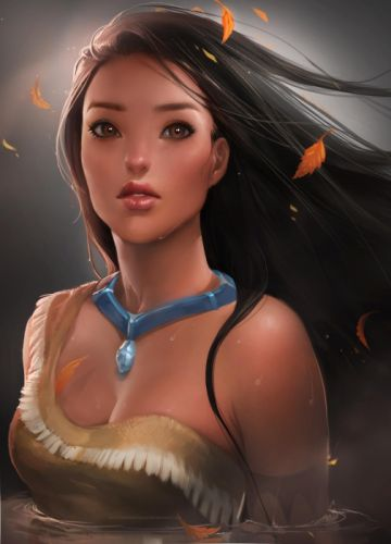 women disney company leaves wet pocahontas artwork sakimichan wallpaper