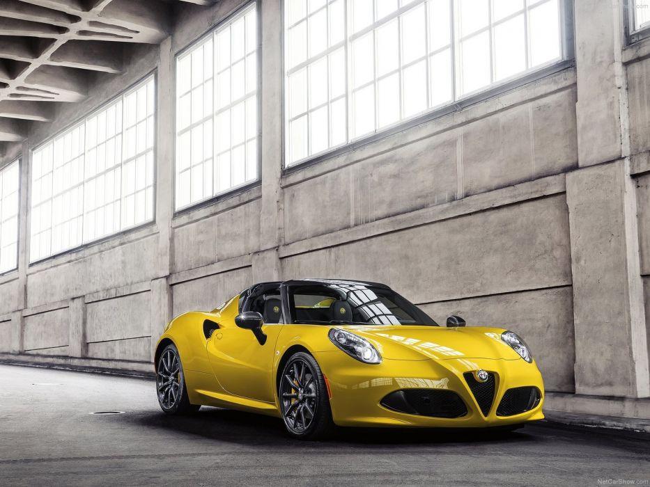 Alfa Romeo 4C Spider 2015 cars italia yellow wallpaper
