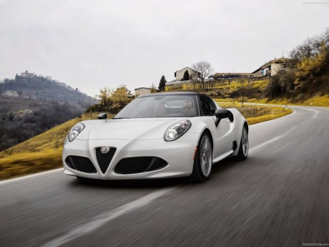 Alfa Romeo 4C Spider 2015 cars italia white wallpaper