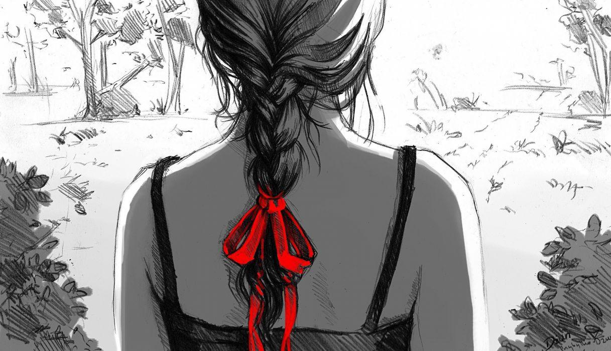 Women artwork plaits drawings braids selective coloring wallpaper ...