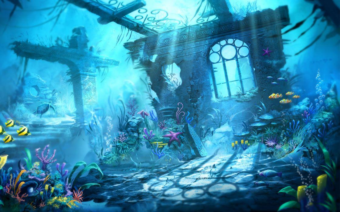 Trine Underwater Scene fish water wallpaper