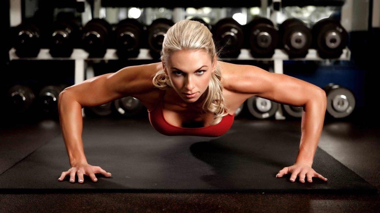 Sports Fitness Girl Push Ups Gym Exercise Wallpaper