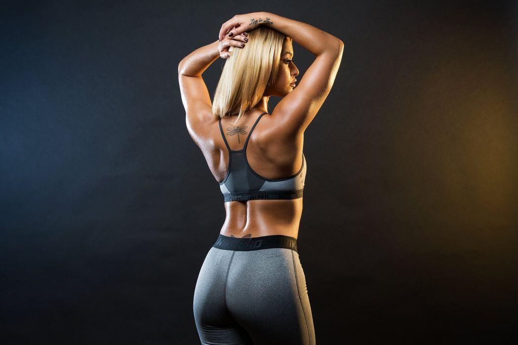 SPORTS - girl fitness tattoo blonde wallpaper
