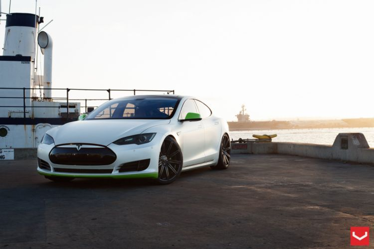 2014 vossen Tesla Model S electric Tuning wheels cars wallpaper