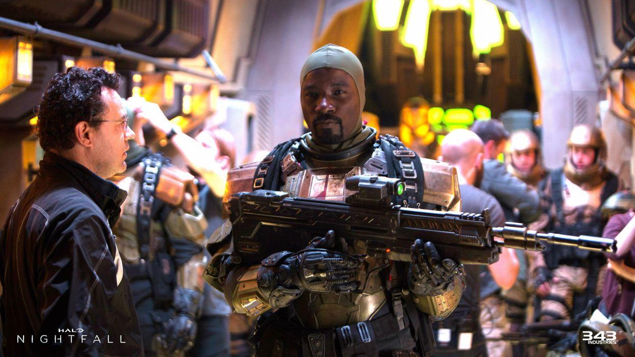 HALO NIGHTFALL sci-fi futuristic action adventure series fighting war zbox microsoft 1halonightfall warrior weapon gun wallpaper
