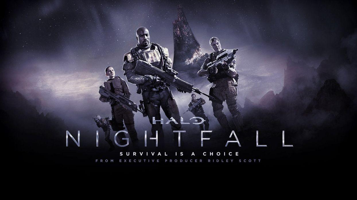 HALO NIGHTFALL sci-fi futuristic action adventure series fighting war zbox microsoft 1halonightfall warrior weapon gun poster wallpaper