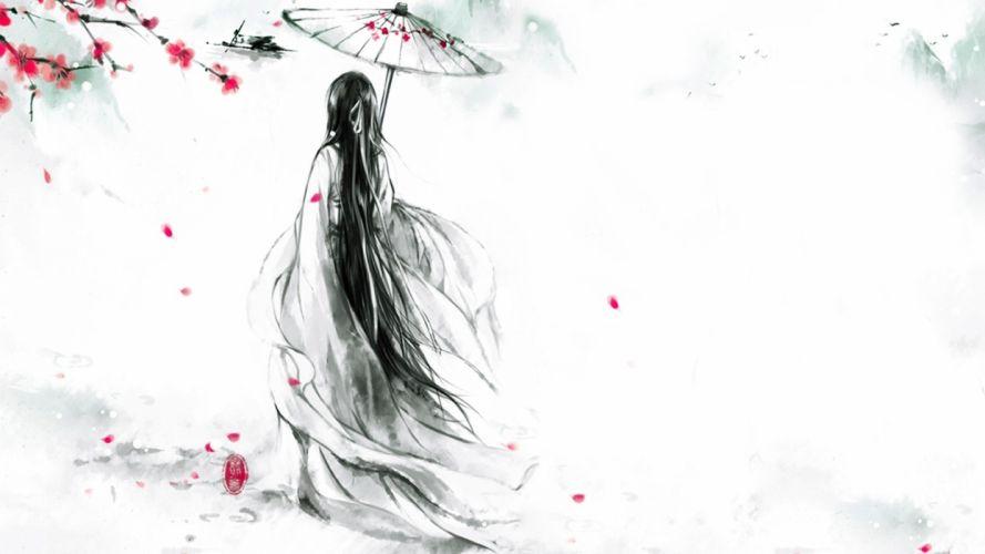 artwork girl kimono long hair wallpaper