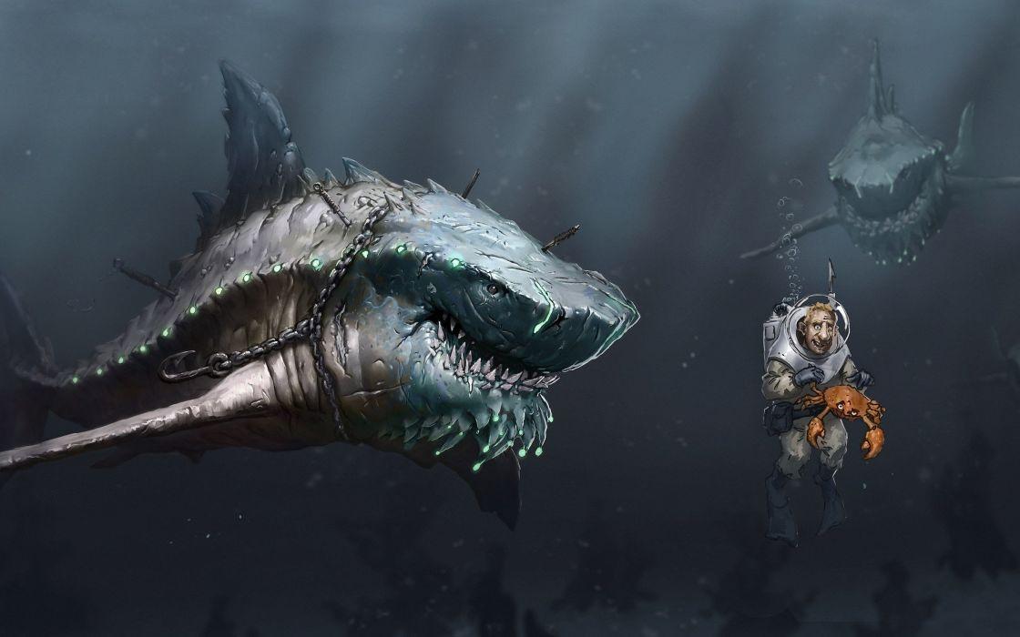 shark art fantasy wallpaper