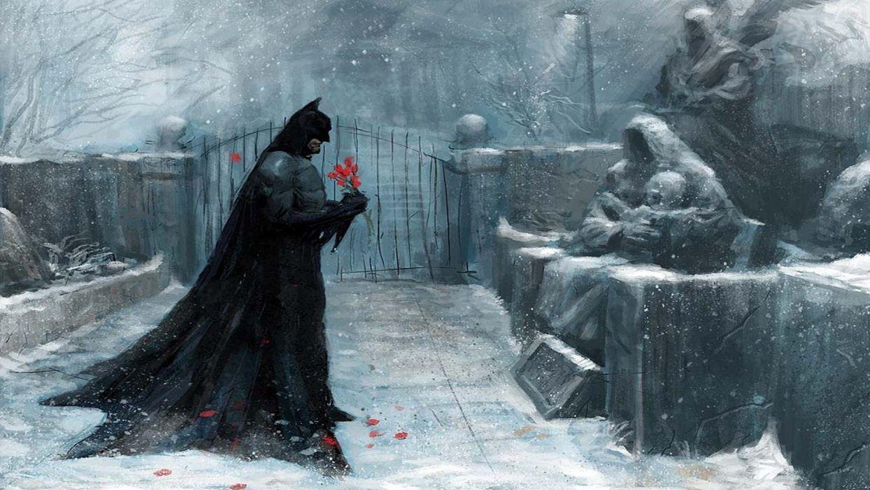 batman artwork winter snow cemetery wallpaper