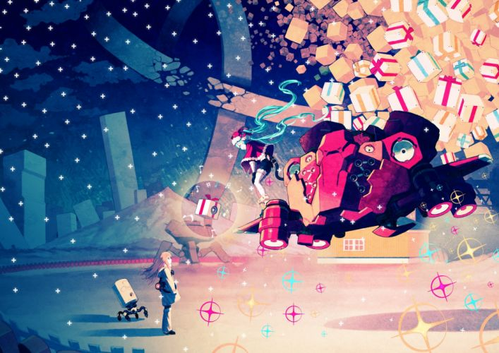 Christmas Vocaloid anime Hatsune Miku night wallpaper