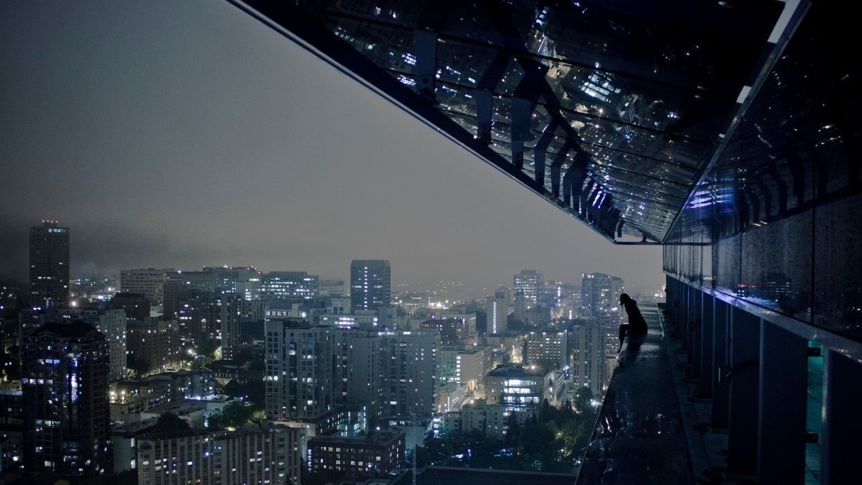 City Skyline Night Girl Wallpaper
