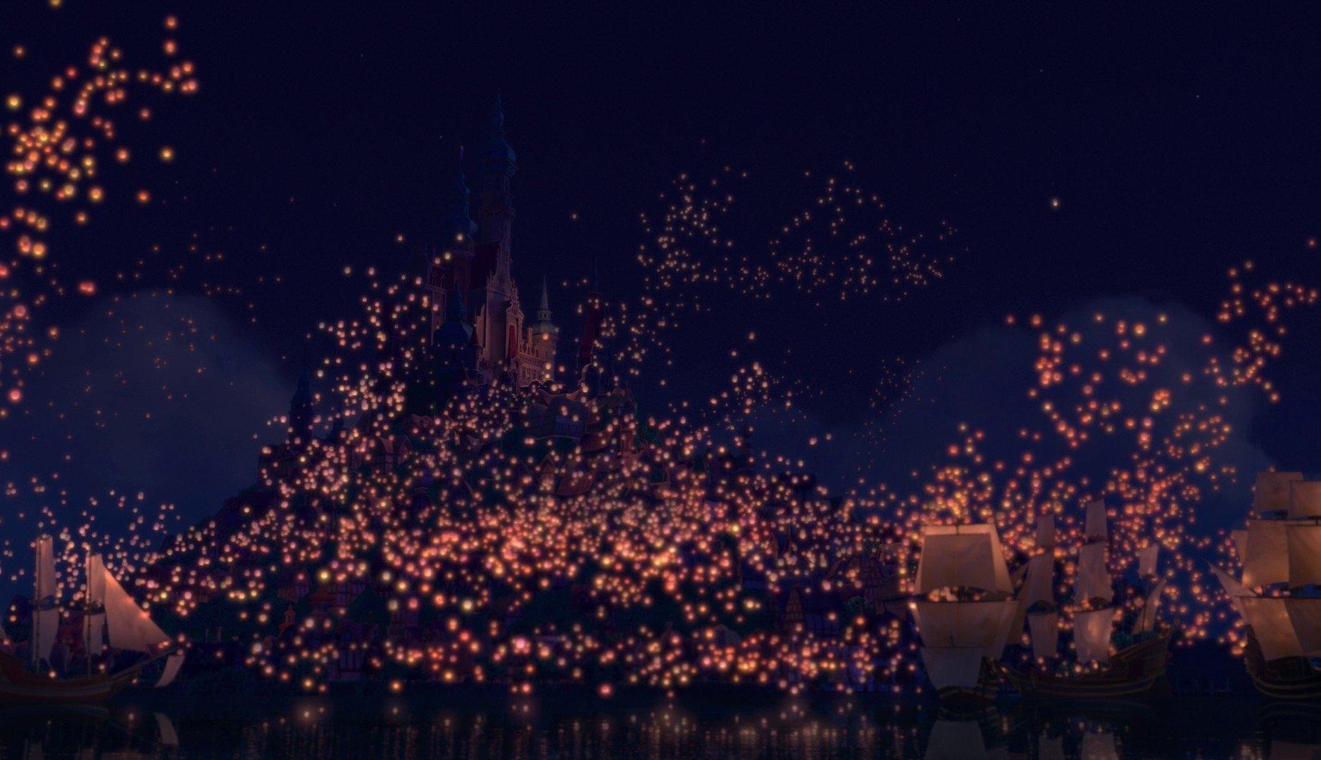 Disney company movies night lights lanterns tangled rapunzel wallpaper ...