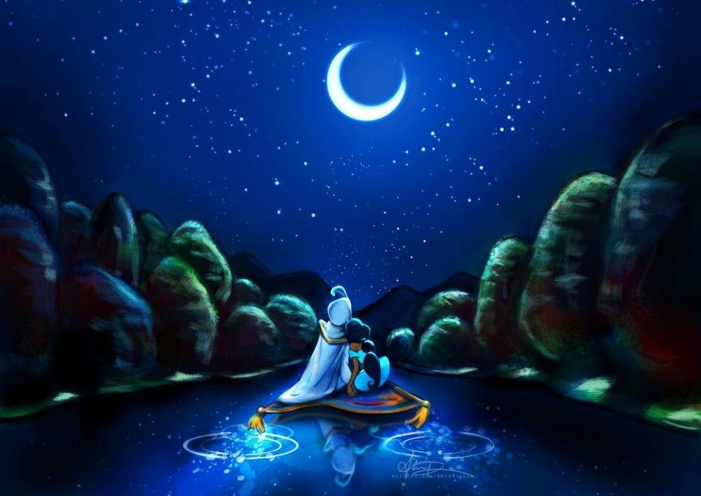 Disney Company Stars Flying Moon Carpet Artwork Aladdin Rivers Princess Jasmine Night Sky Alice Wallpaper