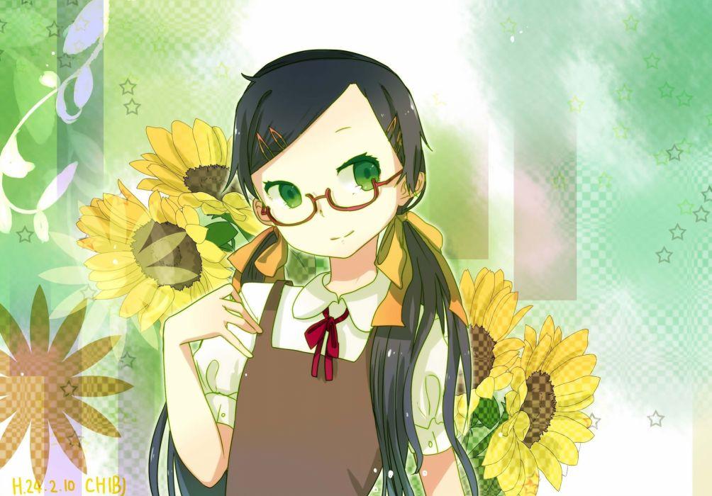 glasses green eyes twintails meganekko hair ribbons sunflowers hair ornaments black hair original wallpaper