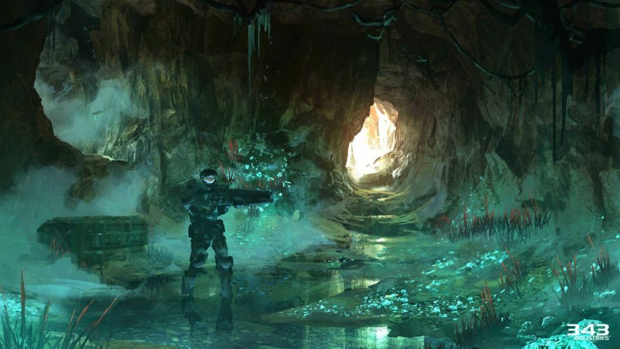 HALO Master Chief Collection sci-fi shooter action futuristic fps war fighting 1halomasterchief warrior weapon gun cave wallpaper