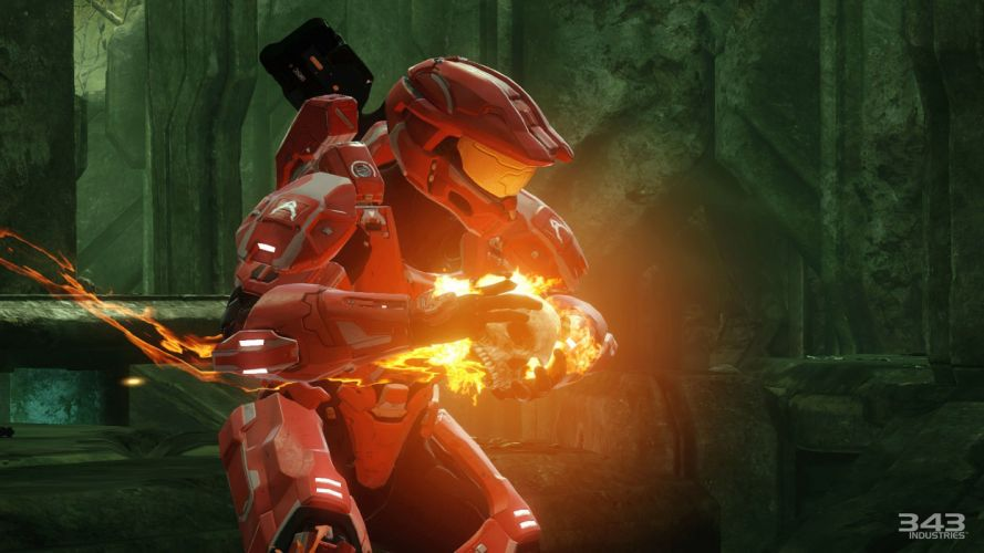HALO Master Chief Collection sci-fi shooter action futuristic fps war fighting 1halomasterchief warrior skull fire wallpaper