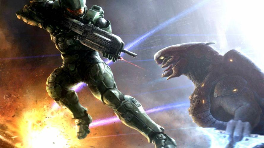 HALO Master Chief Collection sci-fi shooter action futuristic fps war fighting 1halomasterchief warrior weapon gun battle alien wallpaper
