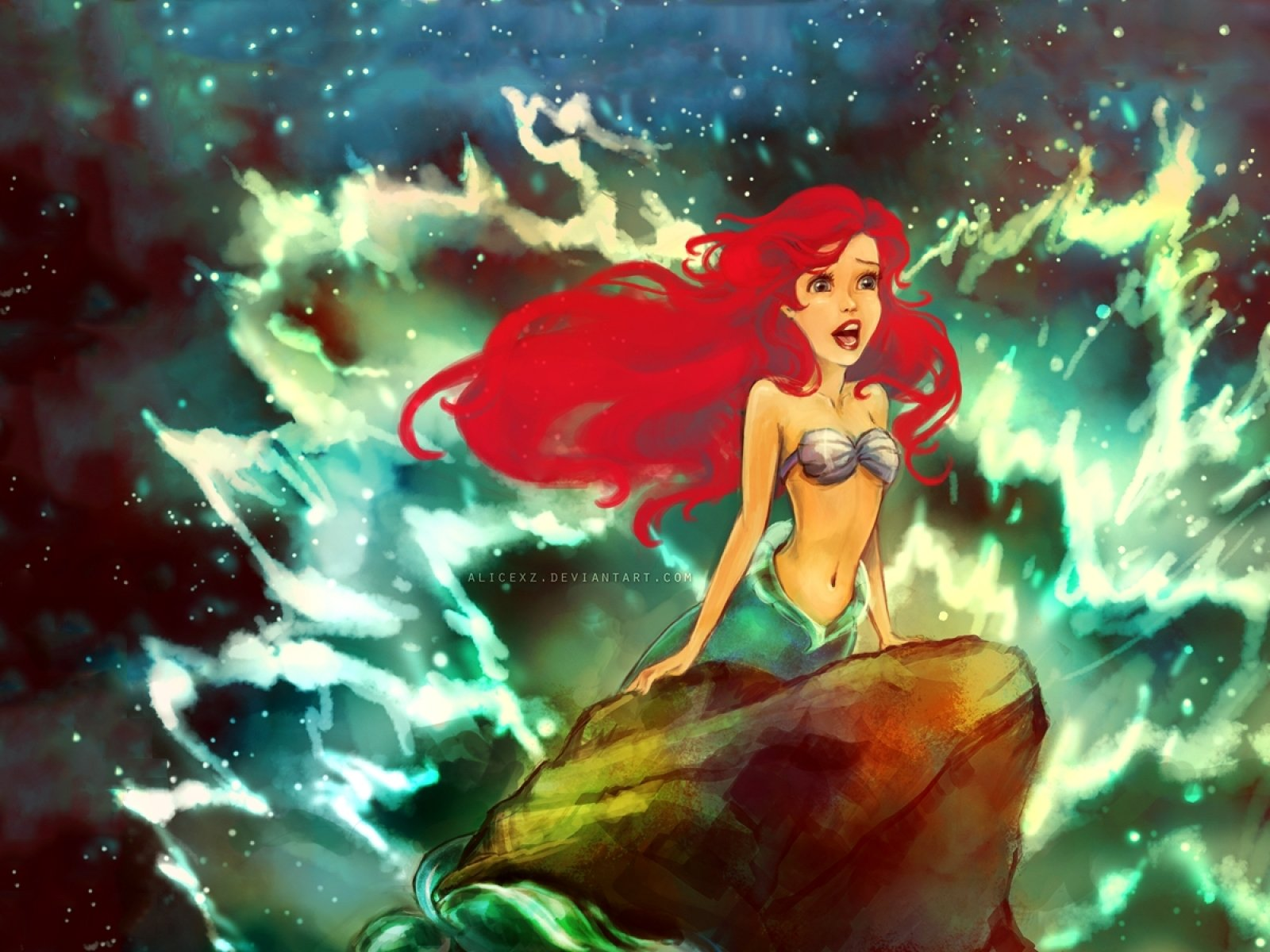 Paintings Disney Company Waves Redheads Rocks The Little