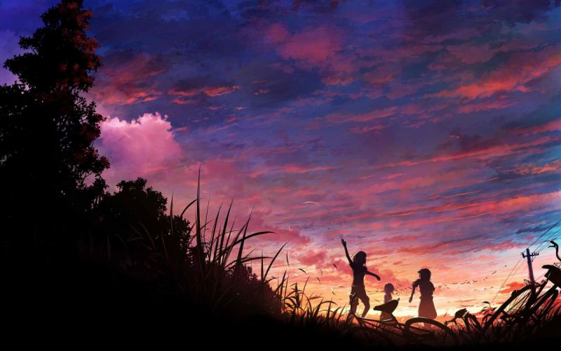 skies sunset silhouettes clouds anime wallpaper