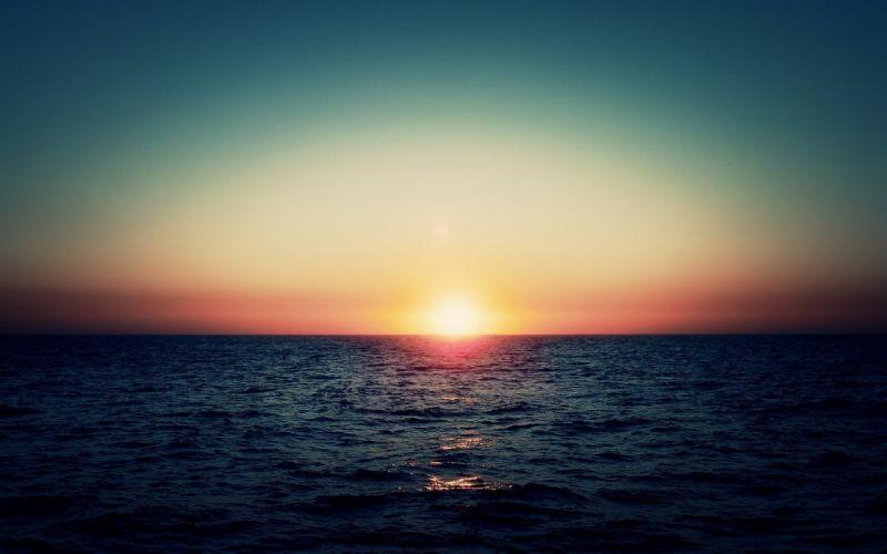 Sun sea sunset wallpaper