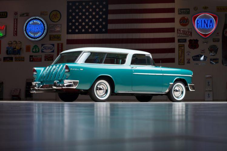 1955 Chevrolet Bel Air Nomad 2429-1064DF stationwagon retro wallpaper