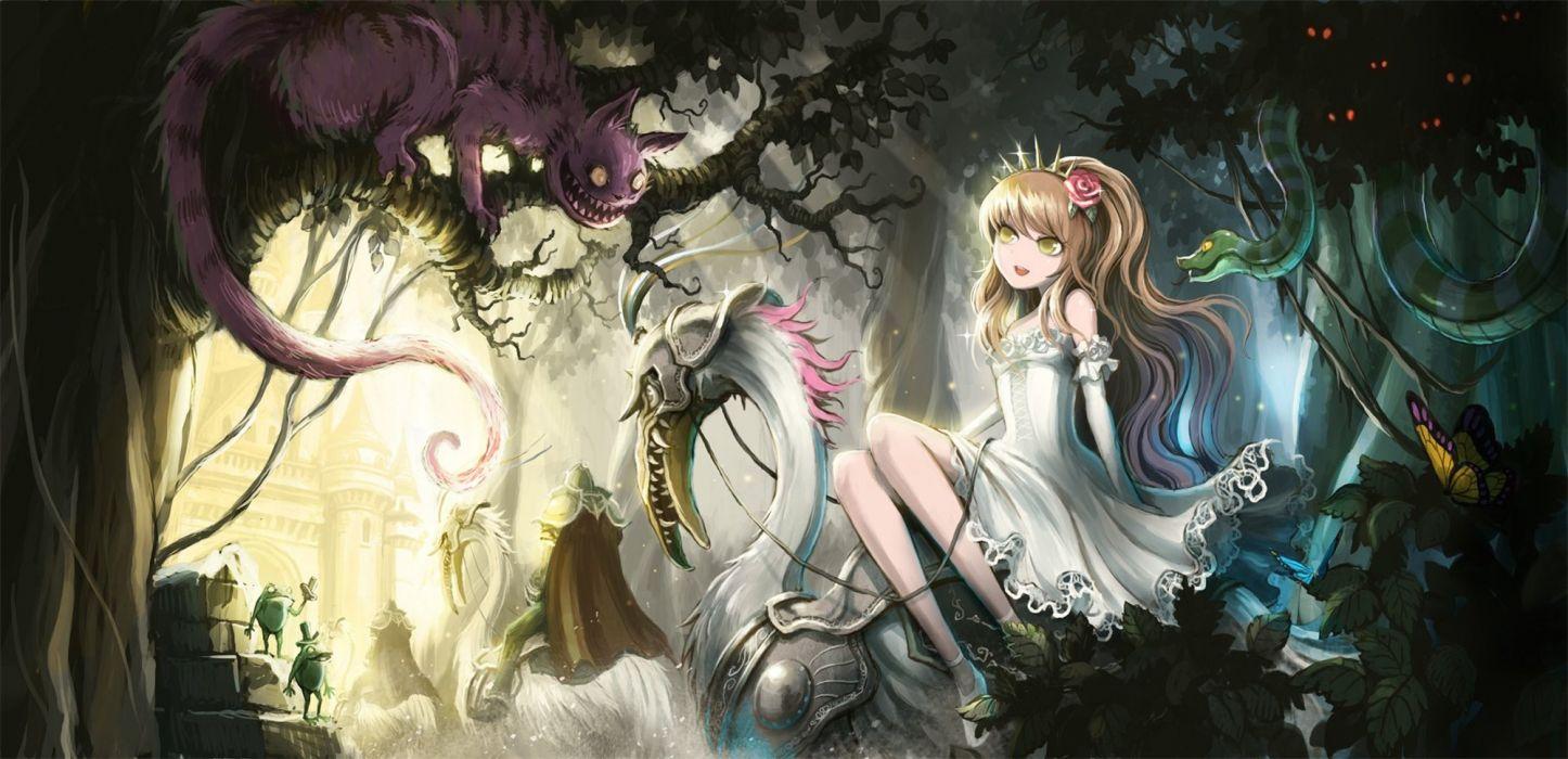 fantasy anime girl alice forest butterfly flower wallpaper