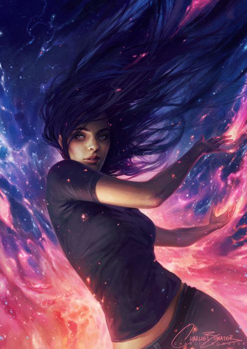 fantasy girl magic blue blue eyes long hair wallpaper