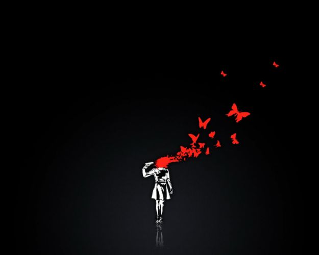 black background girl weapon red butterfly wallpaper