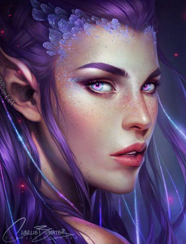 elf fantasy girl magic long hair face beauty wallpaper