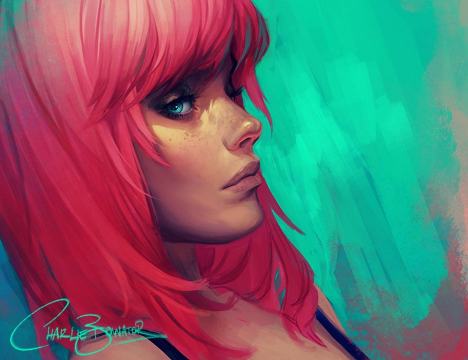 pink hair blue eyes fantasy girl face wallpaper