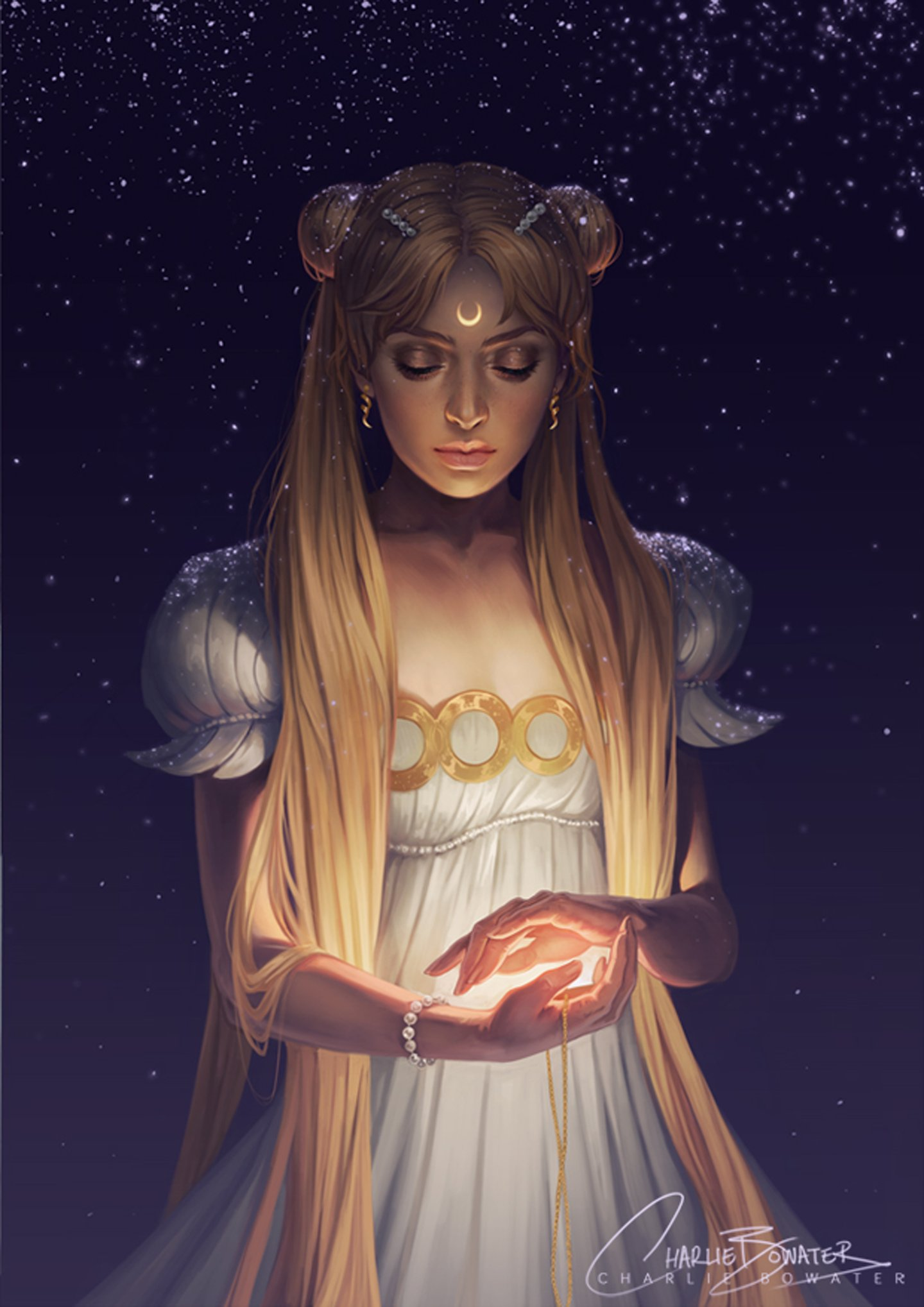 Sailor moon series character serenity dress sky star anime ...