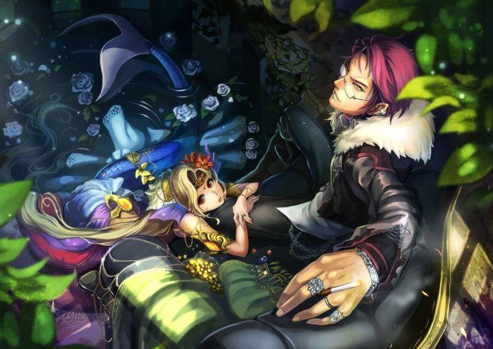 water flowers mermaid glasses long hair brown eyes pink hair animal ears short hair yellow eyes anime wallpaper