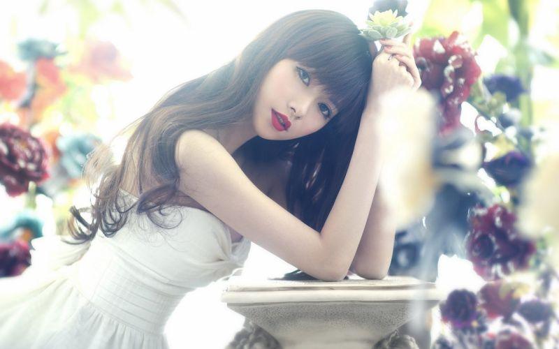 asia girl long hair white dress beautiful red lips face wallpaper