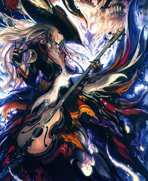 guitar Rage of Bahamut Series Game long hair boy fantasy wallpaper