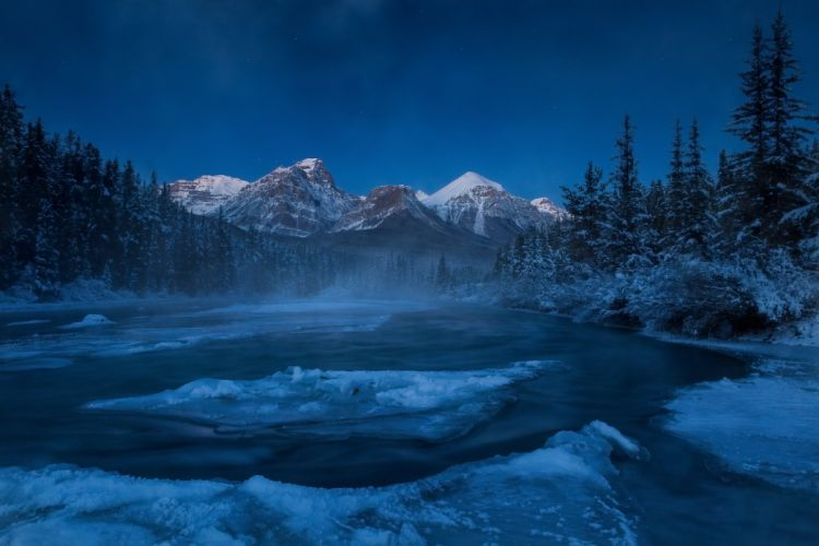 Alberta Canada Rocky Mountains river mountain forest winter ice floes wallpaper