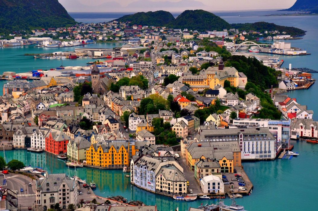 Alesund Norway norway sky sea mountains houses harbor landscape island trees bridge ship boat yacht wallpaper