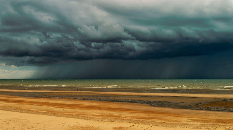 beach shore sky clouds sea ocean rain wallpaper