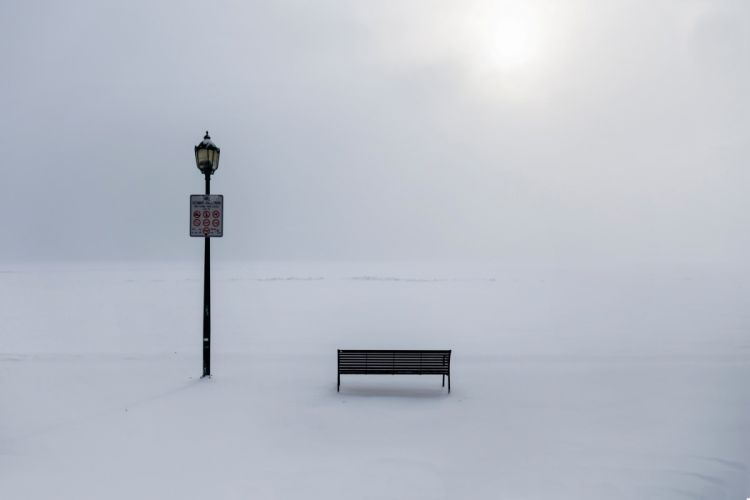bench lamp winter ban frost snow mood bokeh wallpaper
