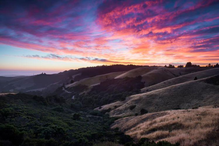 california clouds hills sky sunste sunrise wallpaper