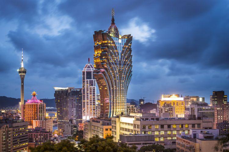 China Skyscrapes Sky Macau Night Cities wallpaper