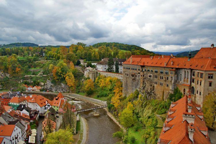 Czech Republic Houses River Cities autumn wallpaper