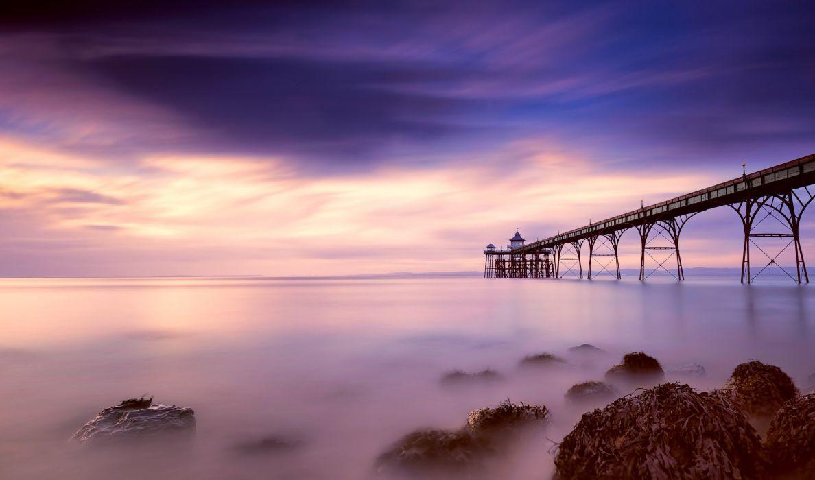 England Somerset County Bay beach pier night pink blue sky clouds lighthouse wallpaper