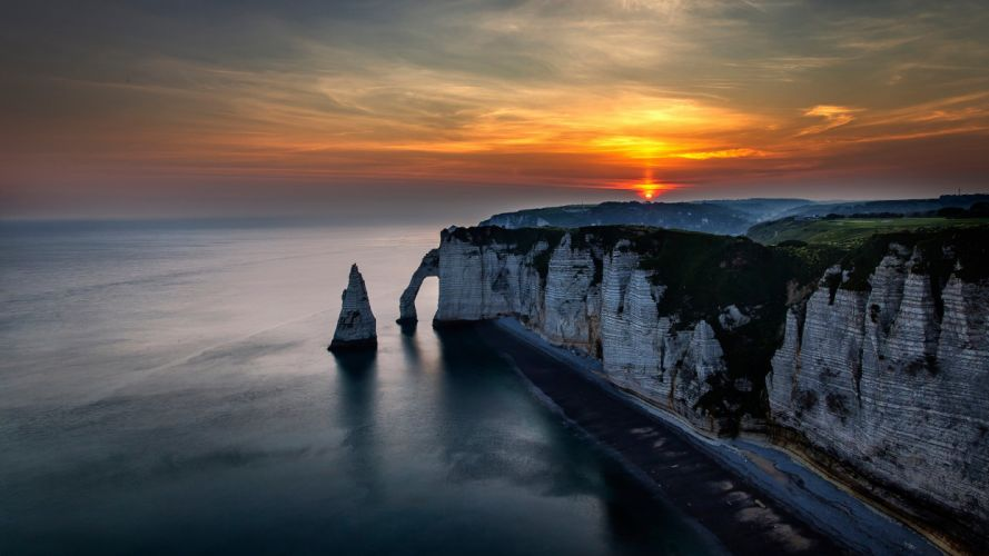 France landscape night sunset sky clouds sun rocks beach sea nature view ocean wallpaper